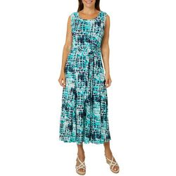 Lennie Womens Belted Geometric Puff Print Sundress