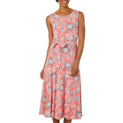 Lennie Womens Belted Floral Puff Print Sundress