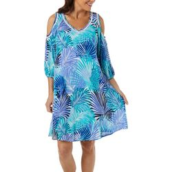 Nina Leonard Womens Tropical Print Cold Shoulder Sundress