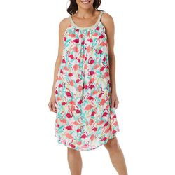 Nina Leonard Womens Braided Flamingo Sundress