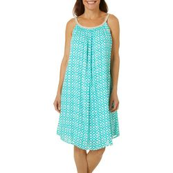 Nina Leonard Womens Braided Geometric Print Sundress