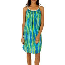 Nina Leonard Womens Braided Tie Dye Stripe Sundress