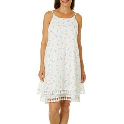 Nina Leonard Womens Cocktail Print Tassel Sundress
