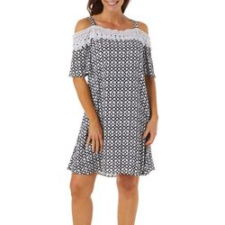 Nina Leonard Womens Geometric Print Cold Shoulder Sundress