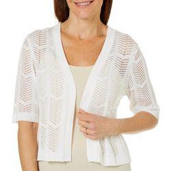 Lennie Womens Open Front Chevron Crochet Shrug