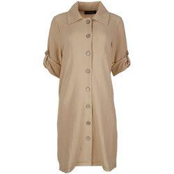Nina Leonard Button-Down Solid Shirt-Dress