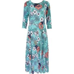 Nina Leonard Womens Tropical Midi Dress