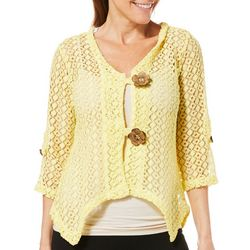 Lennie Womens Flower Button Crochet Shrug