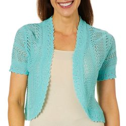 Lennie Womens Solid Crochet Bolero Shrug