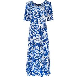 Nina Leonard Womens Printed Midi Dress