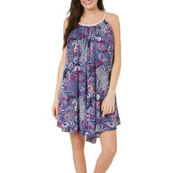 Lennie Womens Sleeveless Paisley Blouson Dress