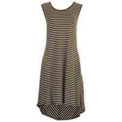 Nina Leonard Womens Basic Striped Dress