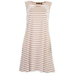Nina Leonard Womens Lace Stripe Dress
