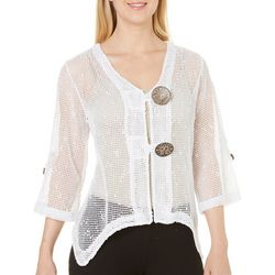 Lennie Womens Coconut Button Sharkbite Hem Shrug