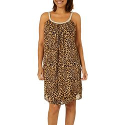Lennie Womens Leopard Print Braid Neck Sundress