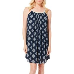 Lennie Womens Medallion Print Braid Neck Sundress