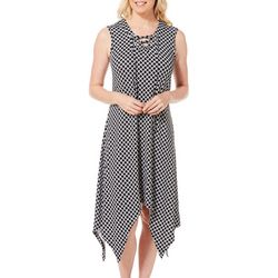 Lennie Womens Geometric Tile Print Handkerchief Dress