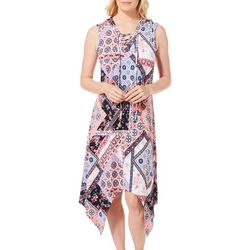 Lennie Womens Mixed Floral Patchwork Handkerchief Dress