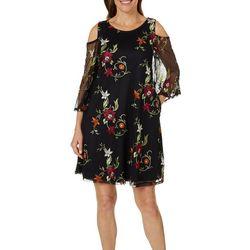 Lennie Womens Embroidered Floral Cold Shoulder Dress