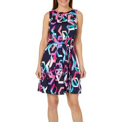 Lennie Womens Belted Geo Print Panel Dress