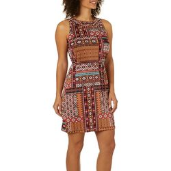 Lennie Womens Boho Patchwork Tie Waist Dress
