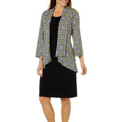 Lennie Womens Geometric Print Jacket Dress