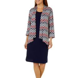 Lennie Womens Chevron Print Jacket Dress