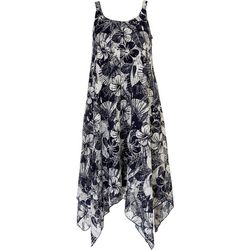 Nina Leonard Womens Floral Shark Bite Dress