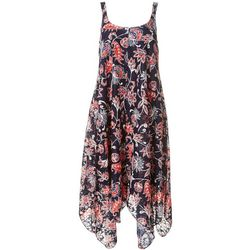 Nina Leonard Womens Sleeveless Floral Shark Bite Dress