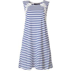 Nina Leonard Womens Striped Lace Shift Dress