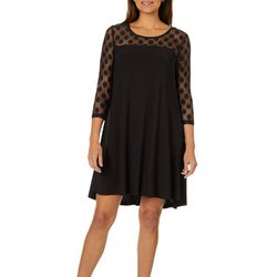 Lennie Womens Polka Dot Mesh Swing Dress
