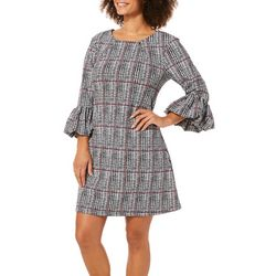 Lennie Womens Houndstooth Bell Sleeve Shift Dress