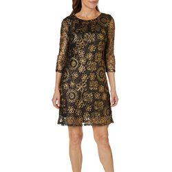 Lennie Womens Metallic Floral Shift Dress