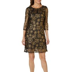 Lennie Womens Metallic Floral Shift Dress