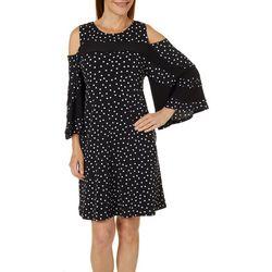 Lennie Womens Dotted Stripe Cold Shoulder Dress