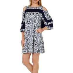 Lennie Womens Geometric Floral Cold Shoulder Dress