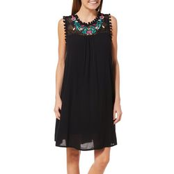 Lennie Womens Embroidered Lace Pom Pom Sundress