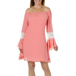 Honeyme Womens Solid Bell Sleeve Crochet Detail Dress