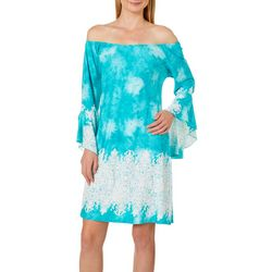 Honeyme Womens Scroll Print Off The Shoulder Dress