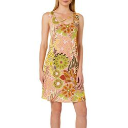 Honeyme Womens Boho Floral Crisscross Neck Sleeveless Dress