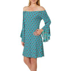 Honeyme Womens Trellis Bell Sleeve Off The Shoulder Dress