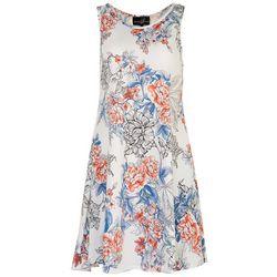 Lexington Avenue Womens All-over Bicolor Floral Sun Dress