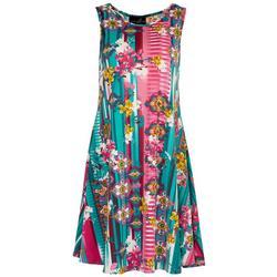 Womens Floral Patchwork Sun Dress
