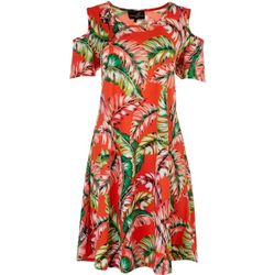 Lexington Avenue Womens Tropical Print Shoulder Cutout Dress
