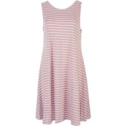 Lexington Avenue Womens Striped Print Sleeveless Dress