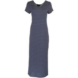 Lexington Avenue Womens Solid Striped Maxi Dress