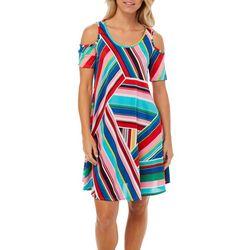 Lexington Avenue Womens Mixed Stripes Cold Shoulder Sundress