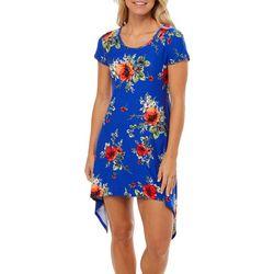 Lexington Avenue Womens Bouquet Print Sharkbite Hem Dress