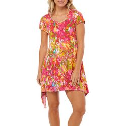 Lexington Avenue Womens Painted Damask Sharkbite Hem Dress