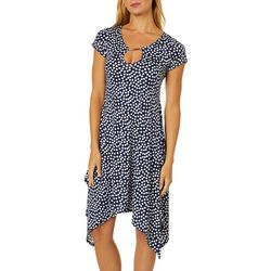 Lexington Avenue Womens Dots Keyhole Sharkbite Hem Dress